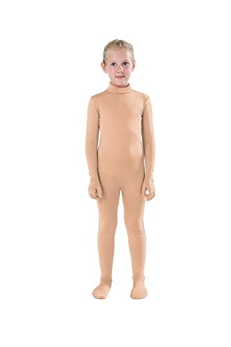Full Bodysuit Kids Dancewear Solid Color Lycra Spandex Zentai Child Unitard (S, Nude)