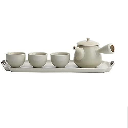 Laytte Keramische Teekanne Set 3 Tasse Keramik Teekanne Set mit Tablett Chinesischen Kung Fu Tee Set Seitengriff Teekanne 150 ml Büro Home Tee Trinkgeschenk