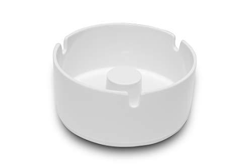 Garnet bianco Posacenere in plastica (melamina) resistente ad alte temperature, antiurto-Made in Italy 100% -Diametro 10 cm, Small