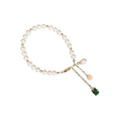 Hokie - Pulsera de perlas blancas cultivadas de agua dulce, circonita verde, cuentas chapadas en oro de 14 quilates y cadena de extensión, perlas de agua dulce de 7-8 mm, regalo perfecto para ella