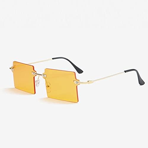 SXRAI Gafas de Sol cuadradas pequeñas para Mujer, Gafas de Sol sin Montura, para Mujeres, Hombres, Gafas de conducción,C4