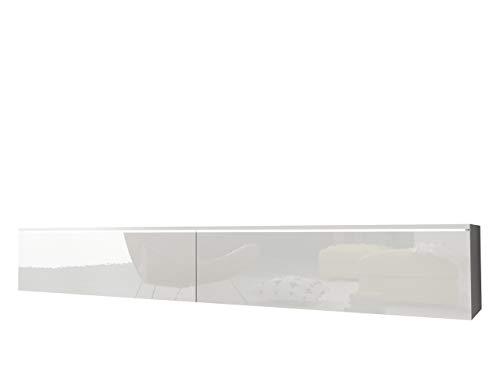 Mirjan24 TV Schrank Stone, Fernsehschrank, TV Lowboard, Grifflose Öffnen, Hängeschrank Hochglanz Matt Wohnwand (Weiß/Weiß Hochglanz, Modell: 180 / ohne LED Beleuchtung)