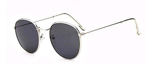Gafas de sol redondas - mujer - hombre - retro - montura de metal - color plateado - lente negra - uv 400 polarizado - primavera - otoño - invierno - verano