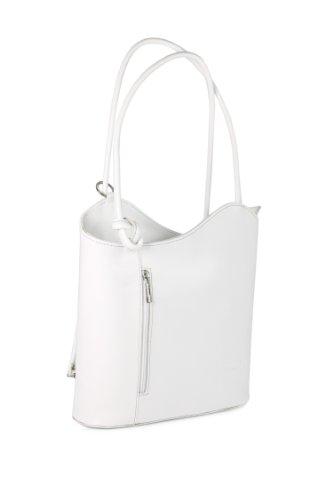Belli italienische Leder Handtasche Backpack Damen Rucksack aus feinstem Leder in weiß - 28x28x8 cm (B x H x T)