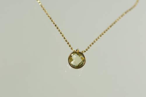 Lemon-Citrin facettiert an vergoldeter 925er Silberkugelkette