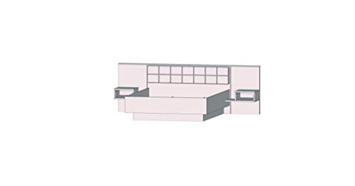 FORTE Bellevue Bettanlage mit inkludierten Nachtkommoden, Holzwerkstoff, 208,7 x 284,6 x 96,5 cm