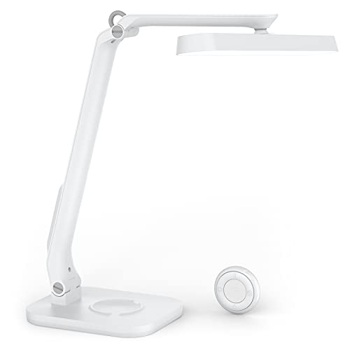 デスクライト LED卓上ライト 折りたたみ式 卓上ライト 充電式 スタンドライト 目に優しい 省エネ タイマー機能搭載 5段階調光&5段階調色 タッチセンサー調光 リモコン操作可能 読書/勉強/仕事に対応 (White)