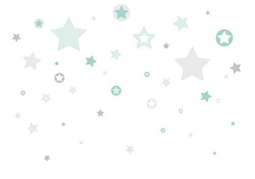 lovely label Wandsticker selbstklebend STERNE GRAU/MINT - Wandaufkleber Kinderzimmer/Babyzimmer mit Sternen in versch. Farben - Wandtattoo...
