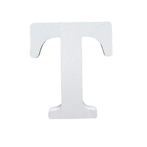 Holzbuchstabe Buchstabe, Toifucos A-Z DIY Englisch Alphabet Holz Buchstaben Handwerk Ornamente für Zuhause Hochzeit Geburtstagsfeier Dekoration Zubehör, Weiß 1 pcs T