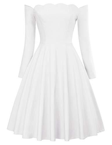 PAUL JONES Off The Shoulder Swing Dress Long Sleeve Audrey Hepburn Dress Size XL White