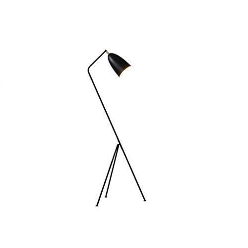 Lámpara de pie, iluminación interior, lámpara de pie Nordic de estilo industrial, retro, minimalista, negro mate, de hierro, ajustable, interruptor de pie, lámpara estándar, para salón de 150 cm