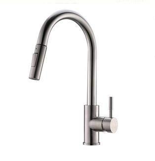 TIMACO Grifo de cocina con ducha extraíble, giratorio 360°, grifo mezclador para cocina, muelle en espiral, níquel cepillado