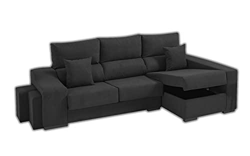 Sofa Lifeream Chaise Longue Derecho 5 Plazas | Arcón Abatible + 2 Puffs | Respaldos Reclinables Ergonómicos | Asientos Extensibles Deslizantes | Gris Antracita