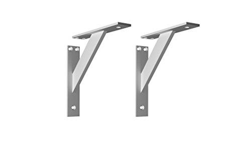 Soporte Estanteria Pared Escuadras Metalicas para Estanterias 2 Piezas Angulos para Estanterias Forja Soporte Balda Pared (180mm, Aluminio)