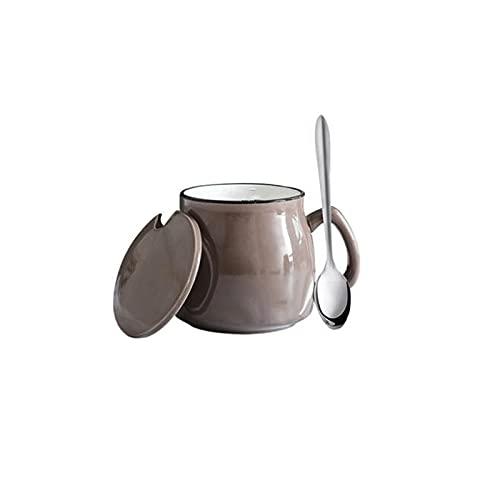 Kjgasutqtcb Tazas Originales, Taza de cerámica con Cuchara y Tapa, 12 oz, diseño Lindo de Porcelana, Tazas de Porcelana, café, té y Bebidas