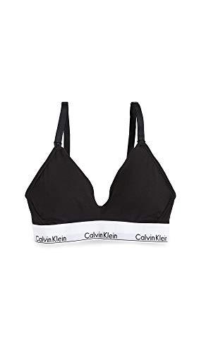 Calvin Klein Women's Modern Cotton Lightly Lined Triangle Nursing Bra, Black, XS