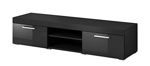 E-Com - TV-Lowboard Fernsehschrank Fernsehtisch Paris - 140 cm - Schwarz