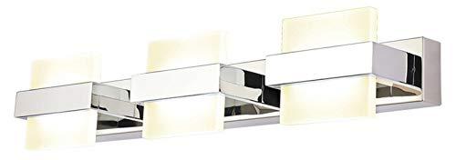 Lámpara De Pared LED De Tres Cabezas De Acero Inoxidable, 3 Luces, Lámpara De Pared Interior, Lámpara Frontal De Espejo, IP44 A Prueba De Humedad, A Prueba De Niebla E Impermeable, 18W, Pasillo, Baño