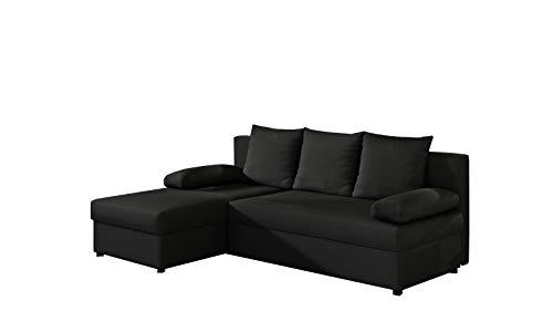 MOEBLO Ecksofa mit Schlaffunktion mit Bettkasten Couch L-Form Polstergarnitur Wohnlandschaft Polstersofa mit Ottomane Couchgranitur - ARON (Schwarz (Sawana 14), Ecksofa Links)