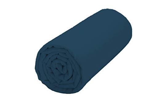 UNIVERS-DECOR Drap Housse 57 Fils/cm² 90 x 190 cm Bleu Marine pour lit 1 Place