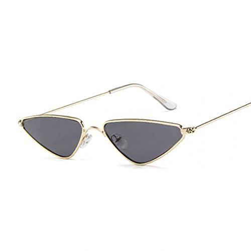 Tanxianlu Gafas de Sol de Ojo de Gato Bonitas para Mujer, Montura metálica a la Moda, Gafas de Sol Vintage para Mujer, Sombras Uv400,G