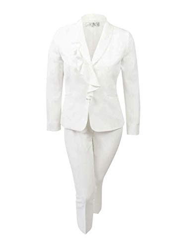 Tahari by Arthur S. Levine Women's Chalk Stretch Crepe Pant Suit with Ruffled Collar, 16