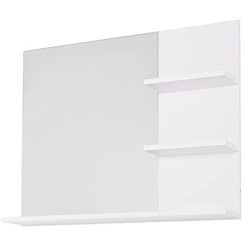 kleankin Mobiletto Pensile Bagno 60 x 10 x 48cm, con Specchio e 3 Ripiani, Armadietto a Parete in MDF Bianco
