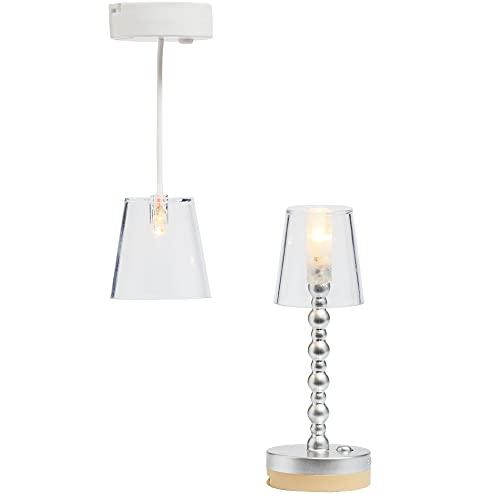 Lundby Dockhus Belysning – Golv +Taklampa LED Lights för Dockskåp Möbler Tillbehör Dockor Leksaker Batteri Lampa med Kardborreband- Ålder Barn 4+, Skala 1:18
