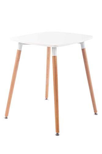 CLP Küchentisch VIBORG I Esstisch Mit MDF Tischplatte I Bistrotisch Mit Buchenholzgestell, Farbe:weiß, Größe:60 cm