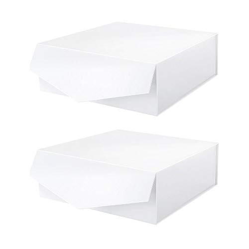 MALICPLUS 2 Extra Large Gift Boxes 12x12x5 Inches, White Gift Boxes with Lids, Bridesmaids Proposal Boxes, Sturdy Boxes, Magnetic Closure Gift Boxes (Embossing Glossy White)