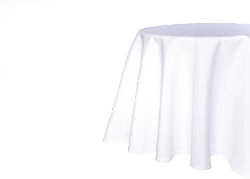 TextilDepot24 Tischdecke mit Fleckschutz Farbe weiß Größe wählbar Kuvertsaum pflegeleicht wasserabweißend (140 cm rund, Weiß)
