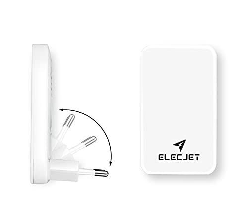 ELECJET   USB C & USB A Netzteil Flach   2-Port Ladegerät   PD QC 3.0   Reiseadapter Klappbar   Für iPhone 12/11/X/8, iPad Pro, Samsung S21 S20 Note 20 10 Ultra Plus (White)