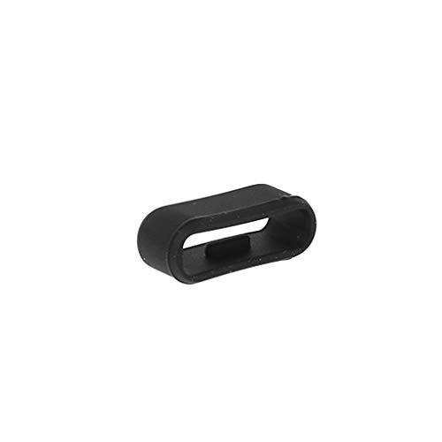 Qiulip Gürtelschlaufe aus Silikon mit Schnalle und Ring für Garmin Vivosmart HR HR+, Schwarz