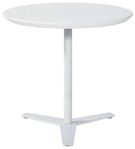 Tomile Mesa auxiliar para sofá, mesa de centro redonda moderna, en forma de T, para ordenador portátil, mesa auxiliar para patio (φ23,62 x 25,59 H, color blanco)