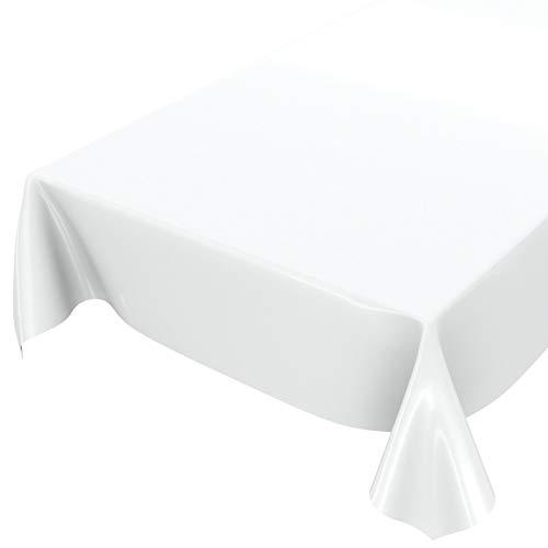 Anro - Mantel de hule lavable de color liso brillante, toalla, Blanco, Schnittkante 100 x 140cm