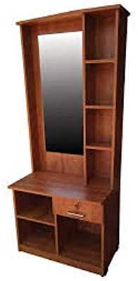 Wenge Engineer Wooden Dressing/Makeup Table with 3 Drawers, 7 Shelf Storage with Mirror for Bedroom