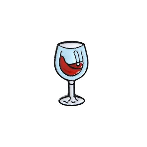 JSJJAHN Broche Vino Tiempo Mini Lindo Vino Y Copas De Vino Pareja Pines Rojo Vino Botella Taza Broches Esmalte Pin Insignia para Amantes Mejores Pines De Amigo (Metal Color : Red Wine Glass)