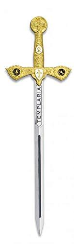 Mini Espada Toledana Modelo Templario Color Oro | Abrecartas réplica de Espada de Toledo 17.4cm