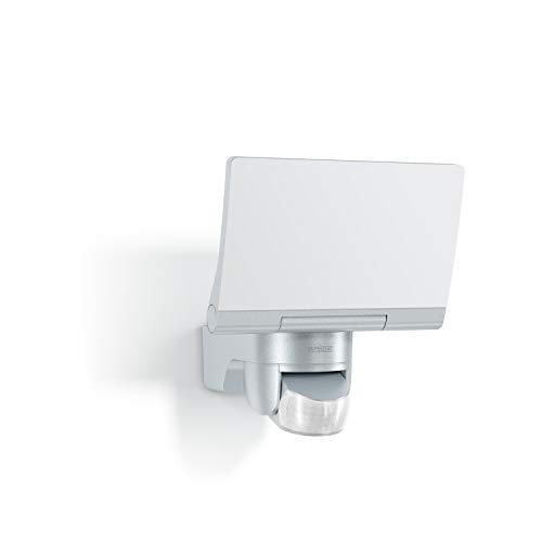 Steinel LED Flutlicht XLED Home 2 silber, um 180 ° schwenkbar, Leistung 14 W, Bewegungsmelder 140 °, Reichweite 14m [Energieklasse A ++]