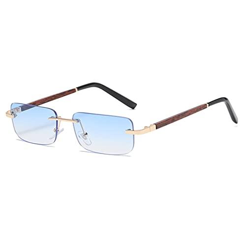 Long Keeper Sonnenbrille Damen Vintage 90s Retro Rechteckig Sonnenbrille Randlos Für Damen Herren Mit Uv Schutz (Blau)