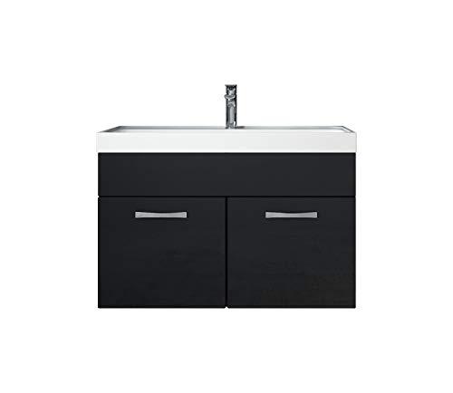 Badezimmer Badmöbel Set Paso 01 80 cm Waschbecken Hochglanz Schwarz Fronten - Unterschrank Schrank Waschbecken Waschtisch