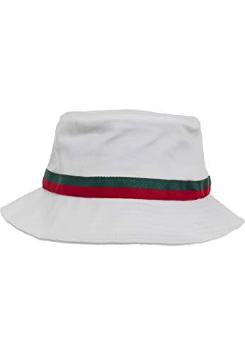 Flexfit Fischerhut Stripe Bucket Hat, white/firered/green, one size, 5003S
