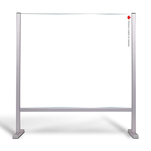 LITA888 Sneeze Guard for Desk Plastic Partition Divider - Plexi Glass Protector Stand - Protective Plexiglass Barrier Counter Shields - Adjustable Opening - 30' x 25' - Commercial Office Schools Store