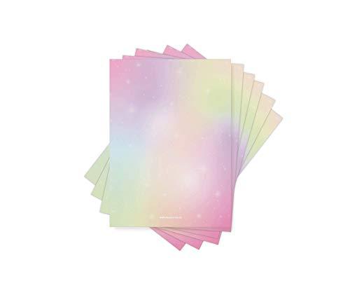Friendly Fox Briefpapier REGENBOGEN - 50 Blatt bedruckbares Briefpapier - A4 buntes Papier zum Briefe schreiben - Rainbow Briefpapier Mädchen Jungen Kinder Erwachsene