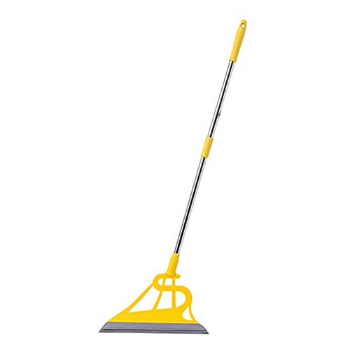Magic Broom Sweeper, Multifunctional 2 in 1 Magic Rubber Broom Easily Remove Water, Pet Hair, Dust, Window Cleaning (Yellow Pole Gray Bottom)