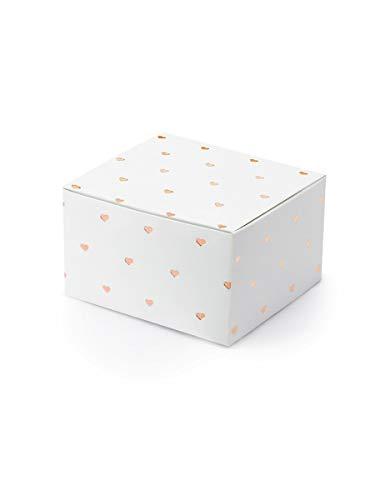 10 weiße Geschenkboxen mit roségoldenen Herzen bedruckt, aus Papier