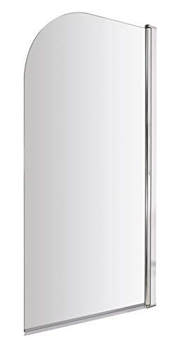 VeeBath NCEU010 Pannello in Vetro temperato di Sicurezza per Vasca da Bagno, 6 mm, con Bordo Curvo, 1400 x 800 mm, Finitura cromata