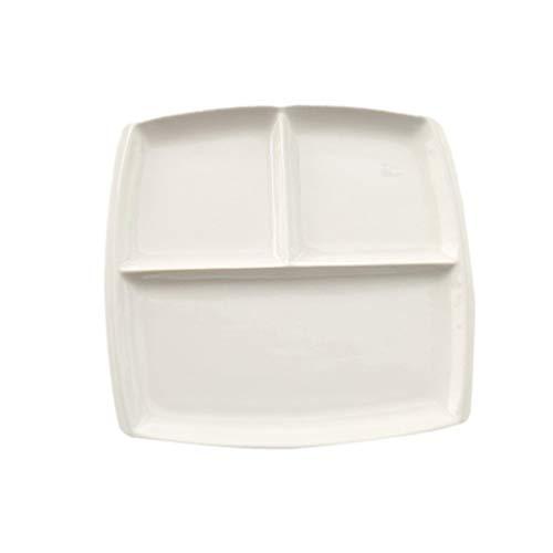 UPKOCH 10 Inch Ceramic Divided Plate Bone Chinese Porcelain Dinner Plate Square Food Salad Breakfast Steak Dish Tableware for Home Kitchen (White)