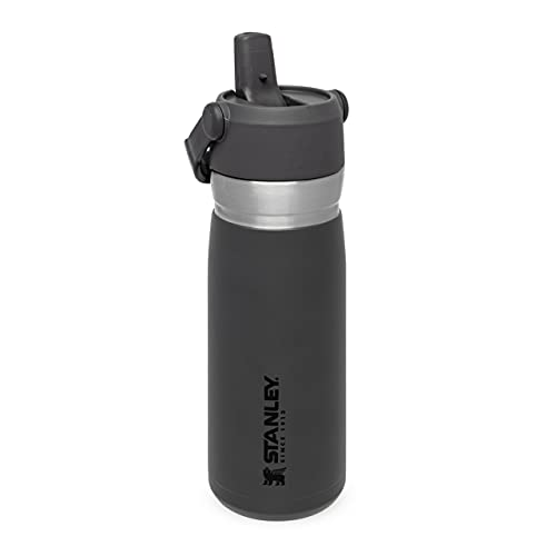 Stanley IceFlow Flip Straw Water Bottle 0.65L / 22OZ Carbón – Anti-Fugas - Botella de Agua de Acero Inoxidable con pajita plegable - Sin BPA - Fácil de Llevar - Apta Para Lavavajillas