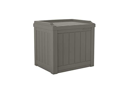 Suncast 22-Gallon Small Deck Box - Lightweight Resin Indoor/Outdoor Storage Container and Seat for Patio Cushions and Gardening Tools - Store Items on Patio, Garage, Yard - Stone Gray